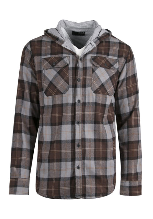 Men's Lined Flannel Hoodie, BROWN, hi-res