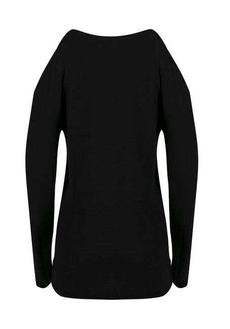 Ladies' Cold Shoulder Sweater, BLACK, hi-res
