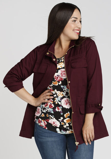 Ladies' Crochet Trim Anorak, BURGUNDY, hi-res