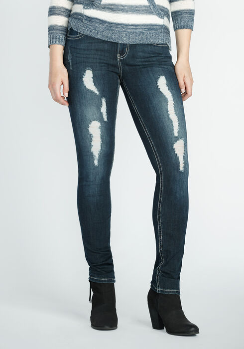 Ladies' Skinny Destroyed Dark Jeans, DARK VINTAGE WASH, hi-res