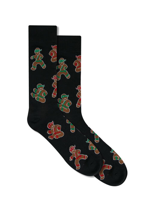 Men's Ninjabread Socks, BLACK, hi-res