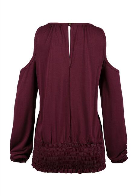 Ladies' Cold Shoulder Top, WINE, hi-res