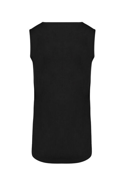Ladies' Lace Trim Tank, BLACK, hi-res