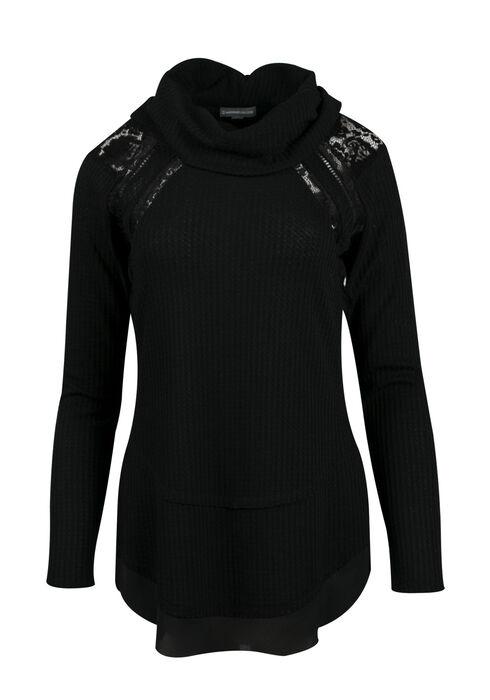Ladies' Cowl Neck Top, BLACK, hi-res