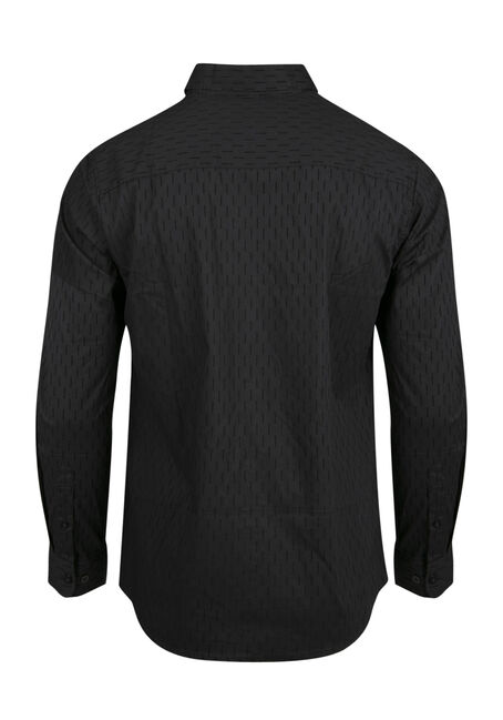 Men's Comfort Stretch Flocked Shirt, BLACK, hi-res