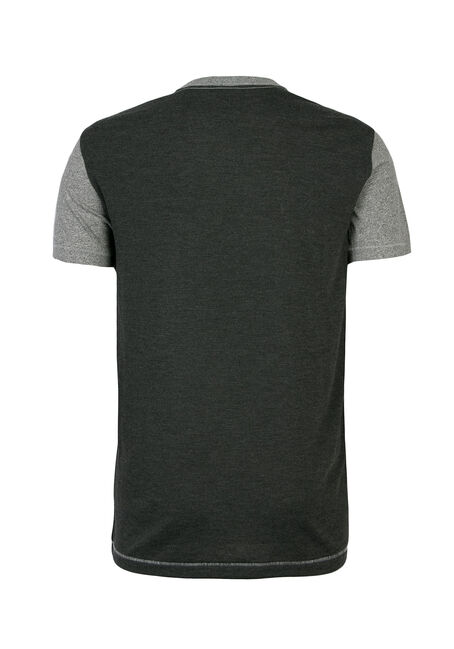 Men's Crew Neck Colour Block Tee, CHARCOAL, hi-res