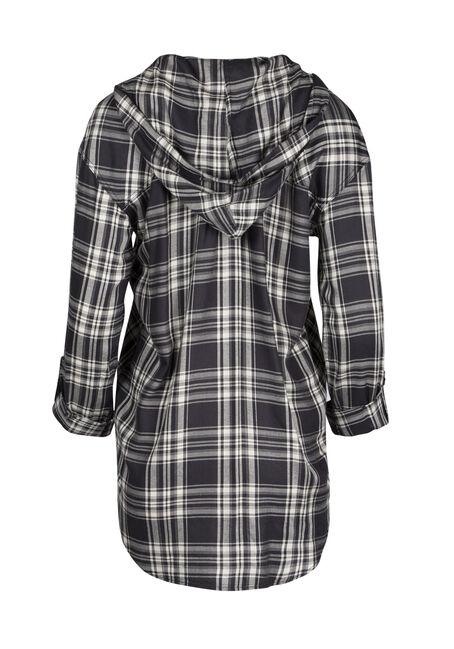 Ladies' Hooded Plaid Shirt, BLK/WHT, hi-res