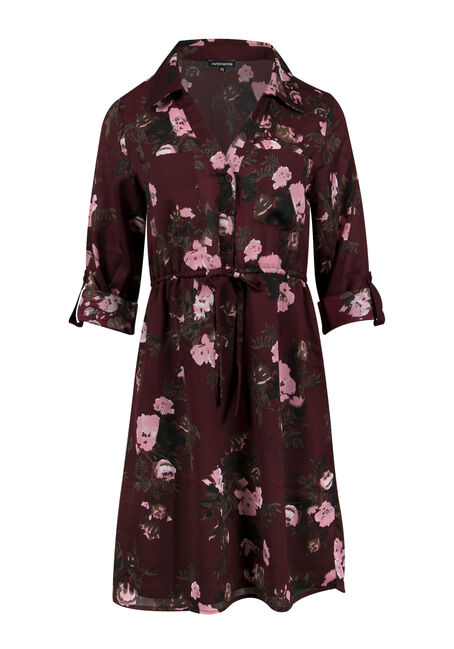 Ladies' Floral Roll Sleeve Shirt Dress