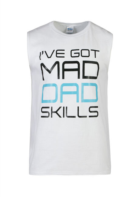 Men's Mad Dad Skills Tank, WHITE, hi-res