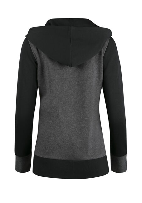 Ladies' Colour Block Hoodie, CHARCOAL/BLACK, hi-res