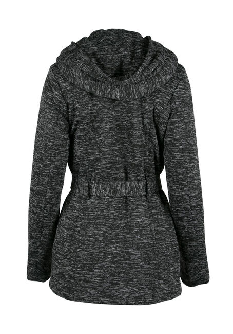 Ladies' Hooded Knit Jacket, CHARCOAL, hi-res