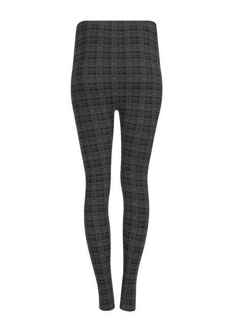 Ladies' Plaid Plush Legging, BLACK/ GREY, hi-res