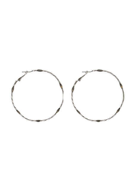 Ladies' Hoop Earring, RHODIUM, hi-res