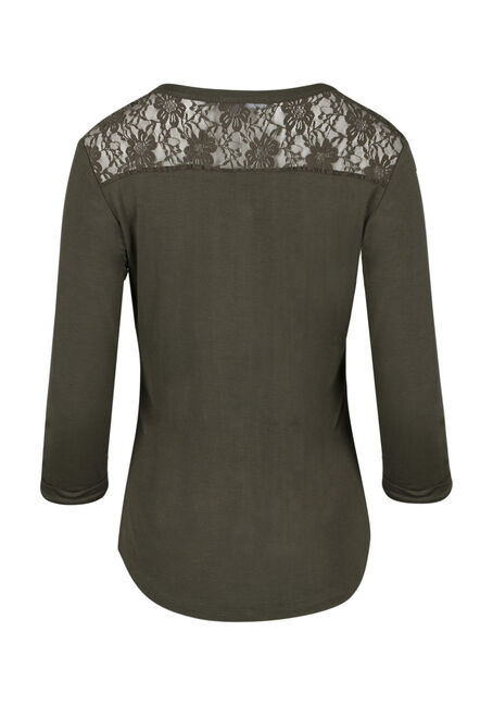 Ladies' Lace Insert Henley Tee, MOSS STONE, hi-res
