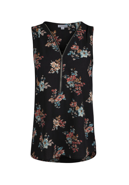Ladies' Half Zip Floral Tank
