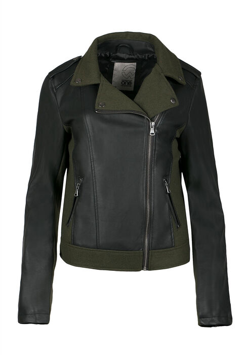 Ladies' Moto Jacket, OLIVE/BLACK, hi-res