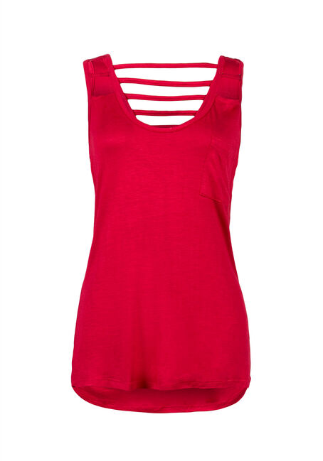 Ladies' Cut Out Tank, RED, hi-res