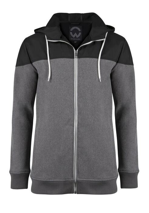Men's Colour Block Softshell Jacket, CHARCOAL, hi-res