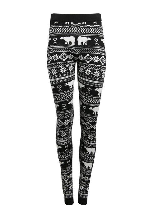 Ladies' Polar Bear Legging, BLK/WHT, hi-res