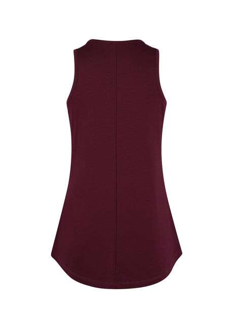 Ladies' Cage Neck Tank, WINE, hi-res