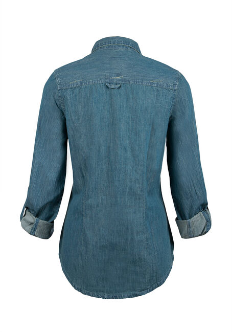 Ladies' Denim Shirt, MEDIUM VINTAGE WASH, hi-res