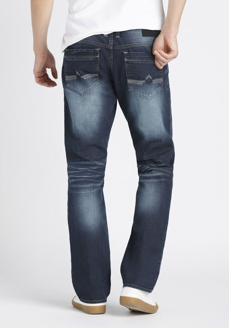 Men's Slim Straight Fit Jeans, DARK VINTAGE WASH, hi-res