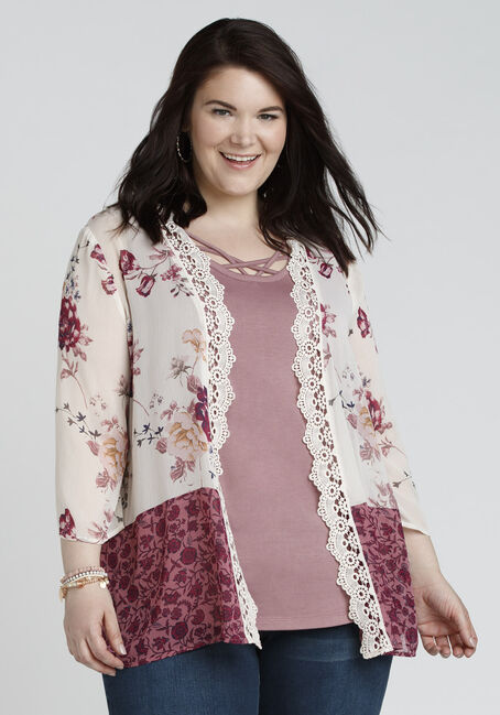 Ladies' Crochet Trim Kimono, MULTI, hi-res