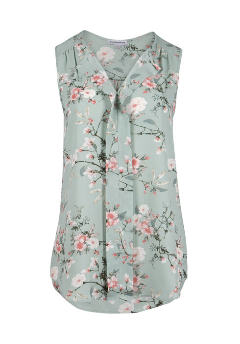 Ladies' Floral Pleat Front Tank, MEADOW GREEN, hi-res