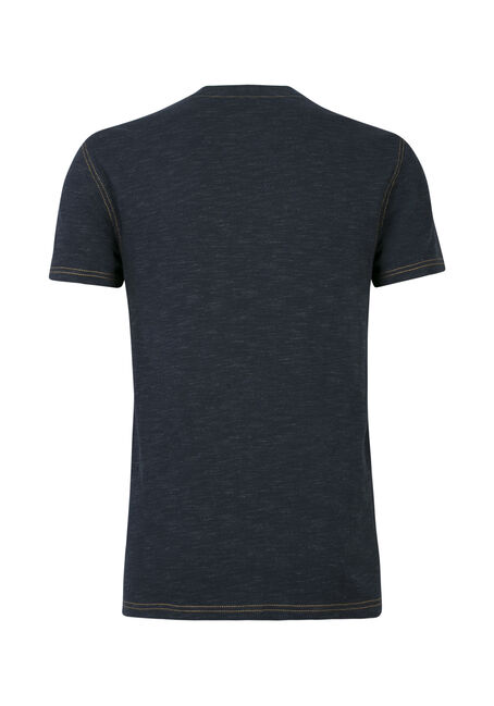 Men's Split V-Neck Tee, NAVY, hi-res