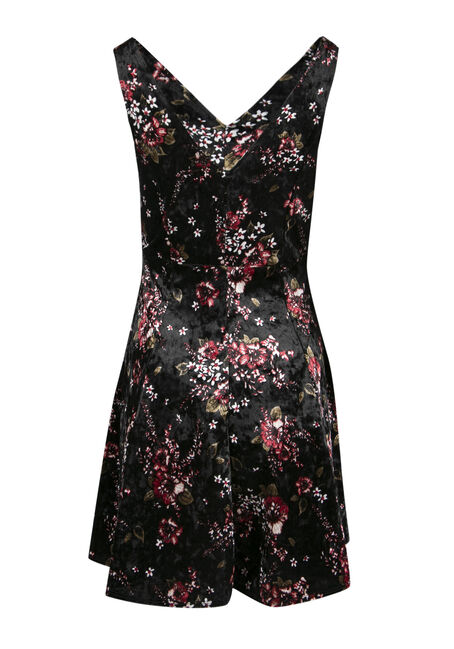 Ladies' Floral Fit and Flare Dress, BLACK, hi-res