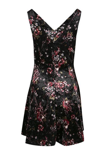 Ladies' Floral Fit and Flare Dress, BLACK, hi-res