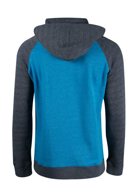 Men's Colour Block Hoodie, BLUE, hi-res