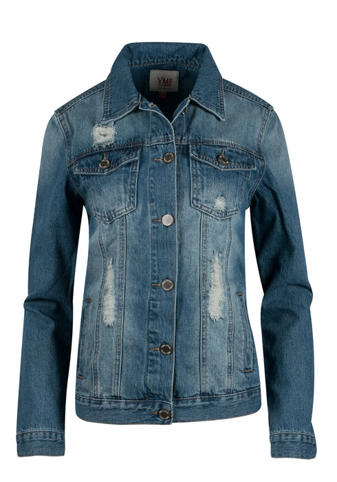 Ladies' Boyfriend Fit Denim Jacket, MEDIUM VINTAGE WASH, hi-res