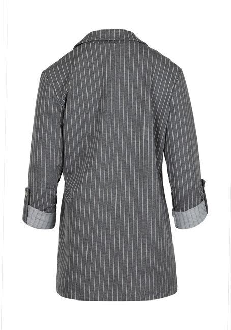 Ladies' Striped Blazer, GREY, hi-res