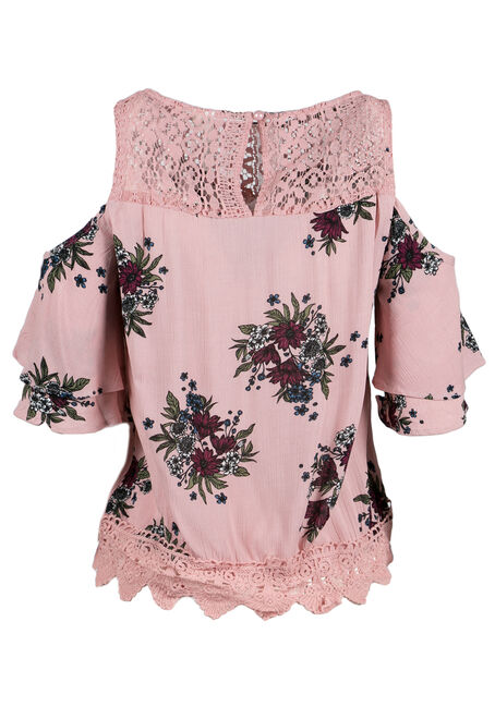 Ladies' Floral Cold Shoulder Top, PINK, hi-res