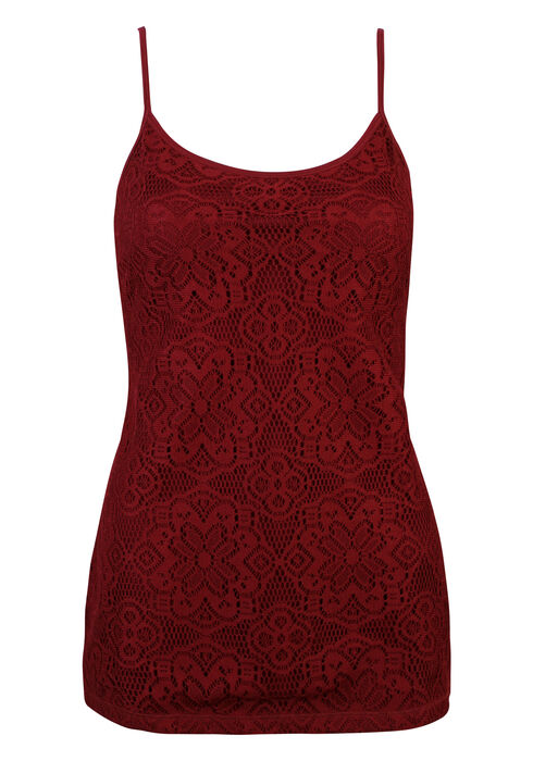 Ladies' Crochet Front Strappy Tank, BEAT RED, hi-res