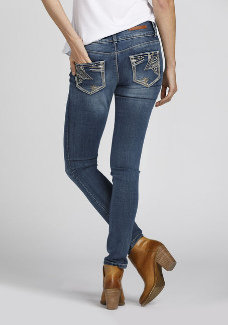 Ladies' High Rise Skinny Jeans, MEDIUM VINTAGE WASH, hi-res