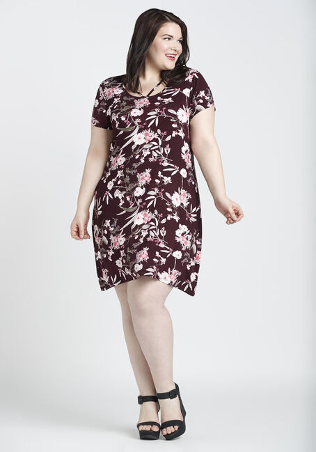 Ladies' Floral A-Line Dress, BURGUNDY PRINT, hi-res