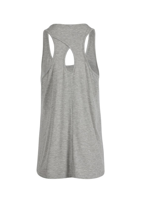 Ladies' Love Flower Keyhole Tank, HEATHER GREY, hi-res