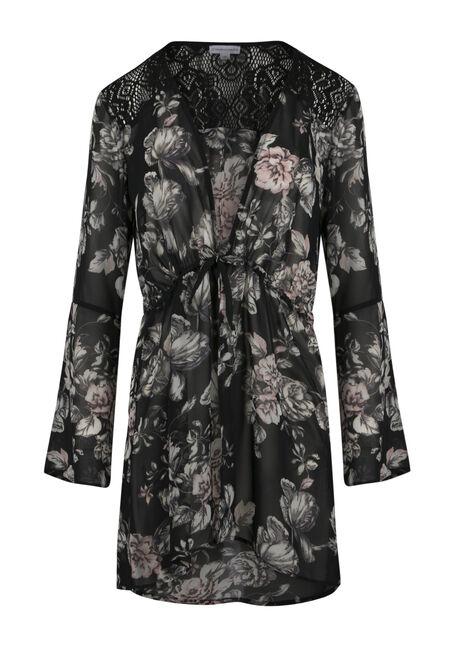 Ladies' Tie Front Floral Kimono