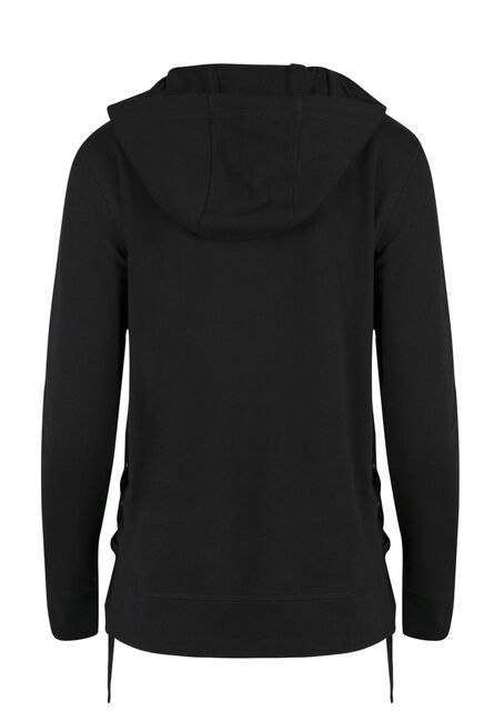 Ladies' Lace Up Grommet Hoodie, BLACK, hi-res