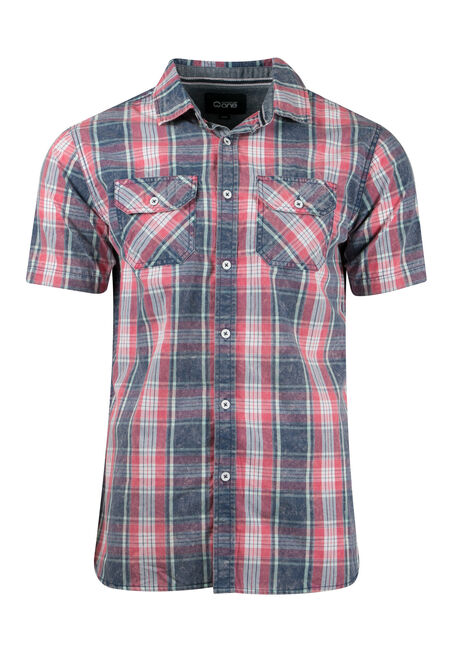 Men's Acid Wash Plaid Shirt