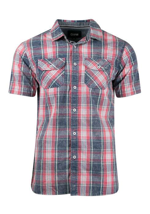 Men's Acid Wash Plaid Shirt, MELON, hi-res