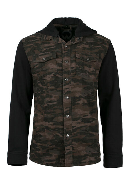 Men's Camo Jacket, DARK OLIVE, hi-res