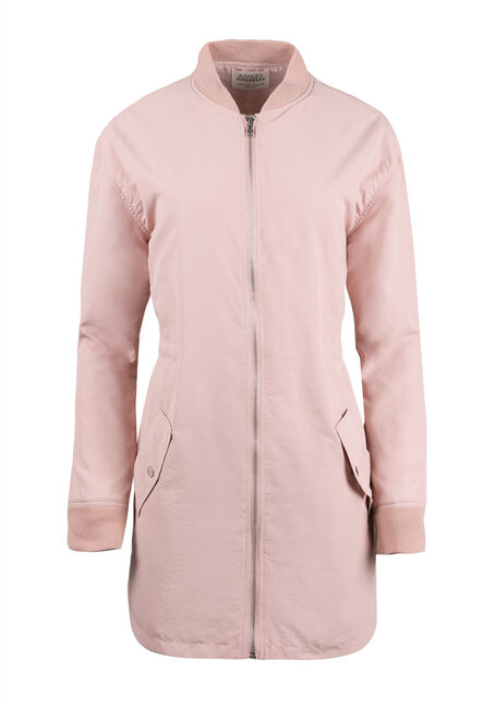 Ladies' Lightweight Long Bomber Jacket, D. MAUVE, hi-res