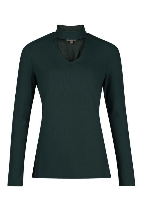 Ladies' Rib Knit Choker Top, JASPER, hi-res