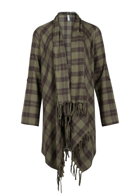 Ladies' Fringe Flannel Wrap, MILITARY, hi-res
