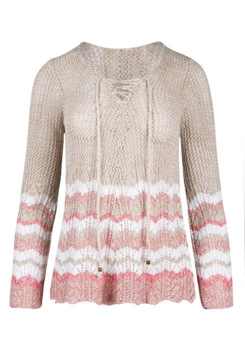 Ladies' Lace Up Pointelle Sweater, OATMEAL/ CORAL, hi-res