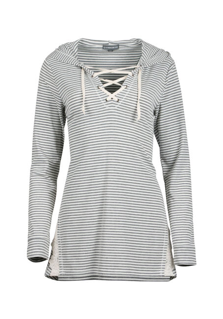 Ladies' Lace Up Hooded Top