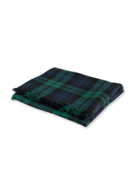 Ladies' Plaid Blanket Scarf, GREEN, hi-res